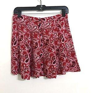Red Bandana Print Skirt